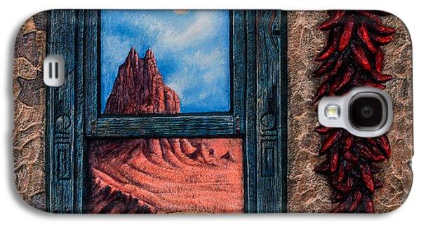 Folk Art Mixed Media Galaxy S4 Cases - New Mexico Window Gold Galaxy S4 Case by Ricardo Chavez-Mendez