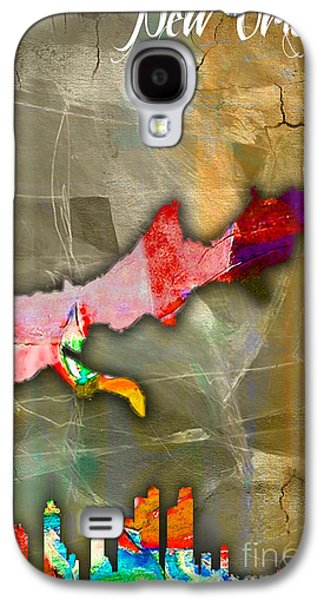 New Orleans Galaxy S4 Cases - New Orleans Map and Skyline Watercolor Galaxy S4 Case by Marvin Blaine