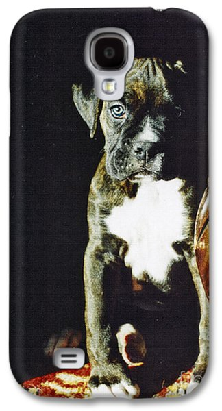 Boxer Dog Digital Galaxy S4 Cases - New to the World Galaxy S4 Case by Judy Wood