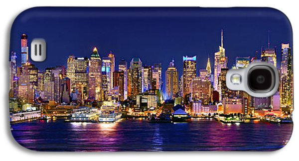 City Scene Galaxy S4 Cases - New York City NYC Midtown Manhattan at Night Galaxy S4 Case by Jon Holiday