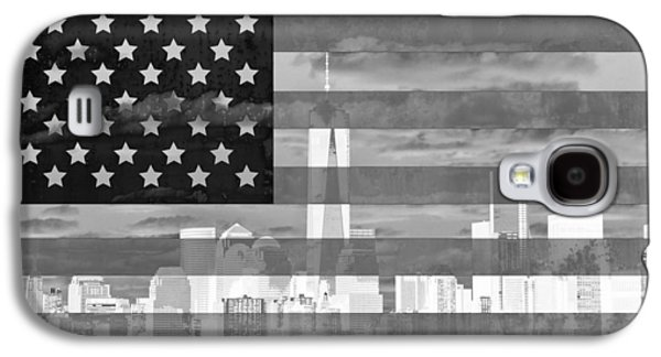 Skylines Mixed Media Galaxy S4 Cases - New York City On American Flag Black And White Galaxy S4 Case by Dan Sproul