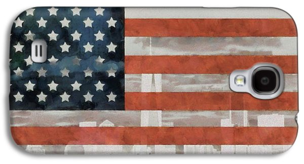 Red White And Blue Mixed Media Galaxy S4 Cases - New York City On American Flag Galaxy S4 Case by Dan Sproul