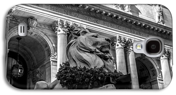Bryant Park Galaxy S4 Cases - New York City Public Library Black and White Galaxy S4 Case by David Morefield