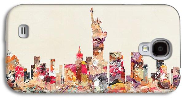 Skylines Paintings Galaxy S4 Cases - New York City Sklyline Galaxy S4 Case by Bri Buckley