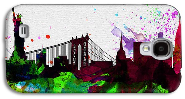 City Scenes Paintings Galaxy S4 Cases - New York City Skyline 2 Galaxy S4 Case by Naxart Studio