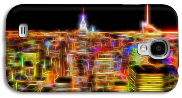 Skylines Mixed Media Galaxy S4 Cases - New York City Skyline Glowing Lights Galaxy S4 Case by Dan Sproul
