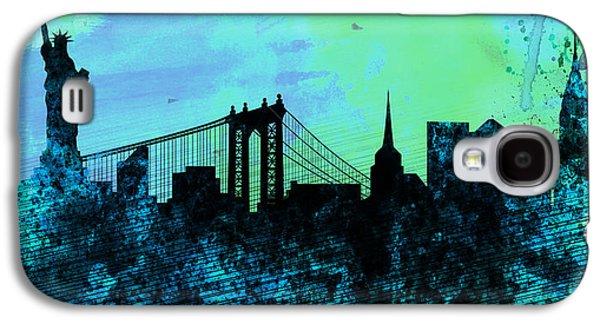 Skylines Digital Art Galaxy S4 Cases - New York City Skyline Galaxy S4 Case by Naxart Studio