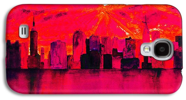 Abstract Digital Paintings Galaxy S4 Cases - New York City Skyline Red Galaxy S4 Case by Ken Figurski