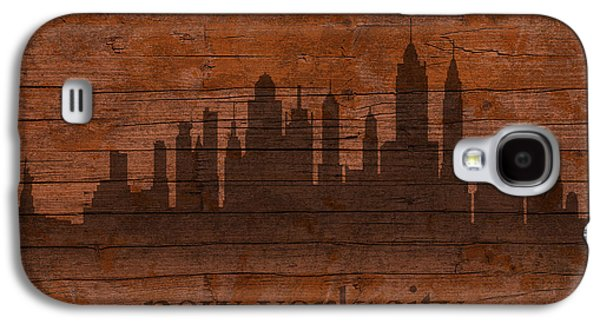 Skylines Mixed Media Galaxy S4 Cases - New York City Skyline Silhouette Distressed on Worn Peeling Wood Galaxy S4 Case by Design Turnpike