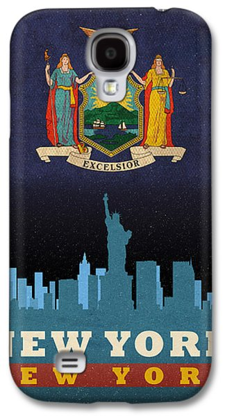 Skylines Mixed Media Galaxy S4 Cases - New York City Skyline State Flag of New York NYC Manhattan Art Poster Series 005 Galaxy S4 Case by Design Turnpike