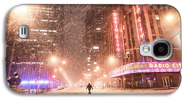 Winter Night Galaxy S4 Cases - New York City - Snow and Empty Streets - Radio City Music Hall Galaxy S4 Case by Vivienne Gucwa