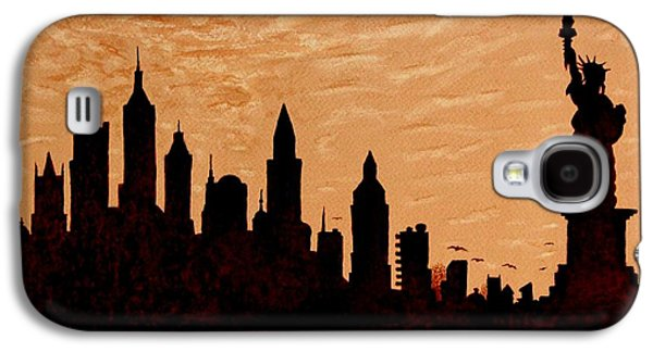 Liberty Paintings Galaxy S4 Cases - New York City Sunset Silhouette Galaxy S4 Case by Georgeta  Blanaru