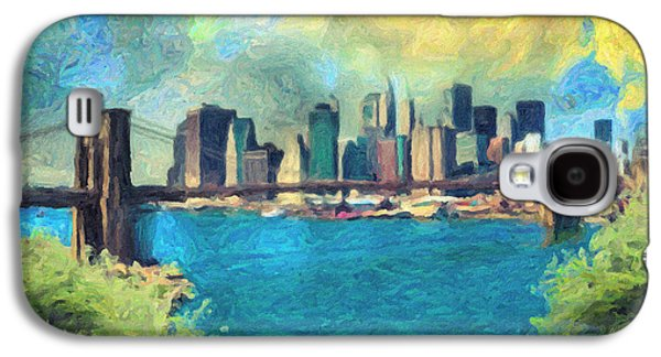 Skylines Paintings Galaxy S4 Cases - New York City Galaxy S4 Case by Taylan Soyturk