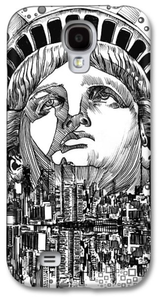 Statue Portrait Galaxy S4 Cases - New York City tribute Galaxy S4 Case by MB Art factory