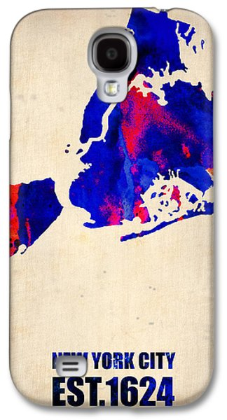 New Galaxy S4 Cases - New York City Watercolor Map 1 Galaxy S4 Case by Naxart Studio