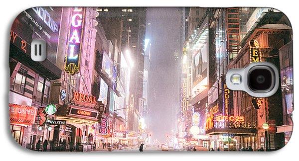 Winter Night Galaxy S4 Cases - New York City - Winter Night - Times Square in the Snow Galaxy S4 Case by Vivienne Gucwa