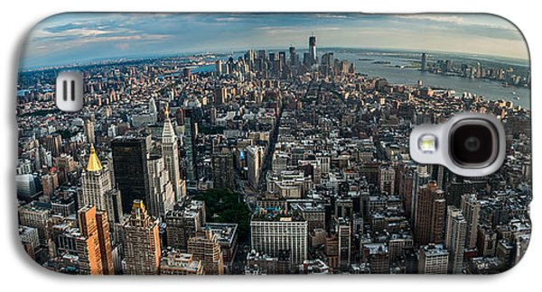 Manhatten Galaxy S4 Cases - New York from a birds eyes - fisheye Galaxy S4 Case by Hannes Cmarits
