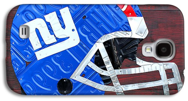 News Mixed Media Galaxy S4 Cases - New York Giants NFL Football Helmet License Plate Art Galaxy S4 Case by Design Turnpike