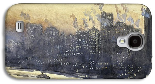 Building Drawings Galaxy S4 Cases - New York harbor and skyline at night circa 1921 Galaxy S4 Case by Aged Pixel
