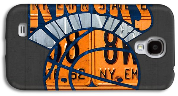 New York Knicks Basketball Team Retro Logo Vintage Recycled New York License Plate Art Galaxy S4 Case by Design Turnpike
