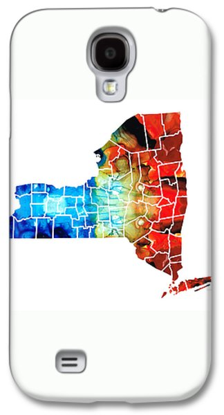 New York - Map By Sharon Cummings Galaxy S4 Case by Sharon Cummings