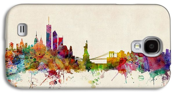 Skyline Digital Art Galaxy S4 Cases - New York Skyline Galaxy S4 Case by Michael Tompsett