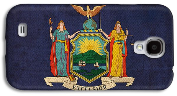 News Mixed Media Galaxy S4 Cases - New York State Flag Art on Worn Canvas Galaxy S4 Case by Design Turnpike