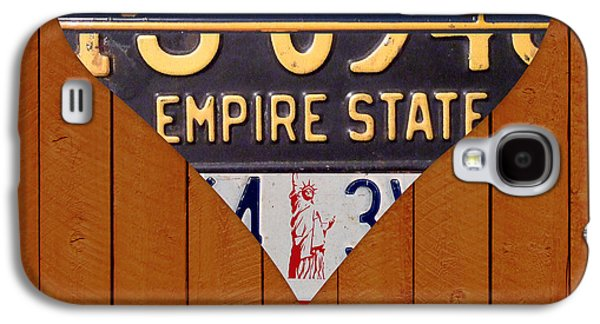 Statue Of Liberty Mixed Media Galaxy S4 Cases - New York State Love Heart License Plate Art Series on Wood Boards Galaxy S4 Case by Design Turnpike