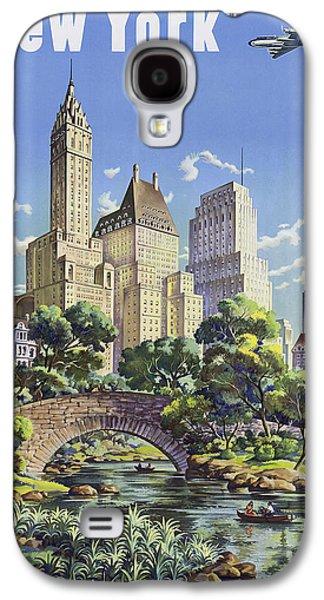 Manhaten Galaxy S4 Cases - New York Vintage Travel Post Galaxy S4 Case by Jamey Scally