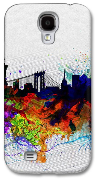 Downtown Digital Galaxy S4 Cases - New York  Watercolor Skyline 1 Galaxy S4 Case by Naxart Studio