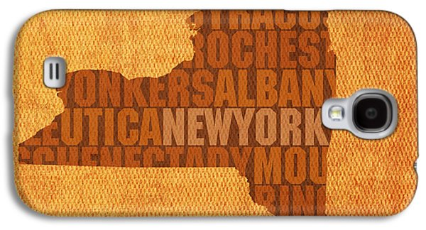 Cities Mixed Media Galaxy S4 Cases - New York Word Art State Map on Canvas Galaxy S4 Case by Design Turnpike