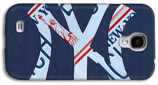 News Mixed Media Galaxy S4 Cases - New York Yankees Baseball Team Vintage Logo Recycled NY License Plate Art Galaxy S4 Case by Design Turnpike