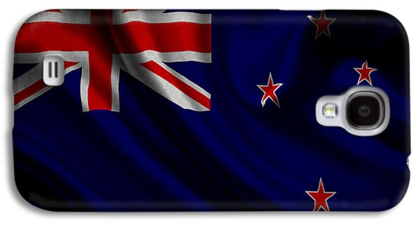 Waving Flag Mixed Media Galaxy S4 Cases - New Zealands flag waving on canvas Galaxy S4 Case by Eti Reid