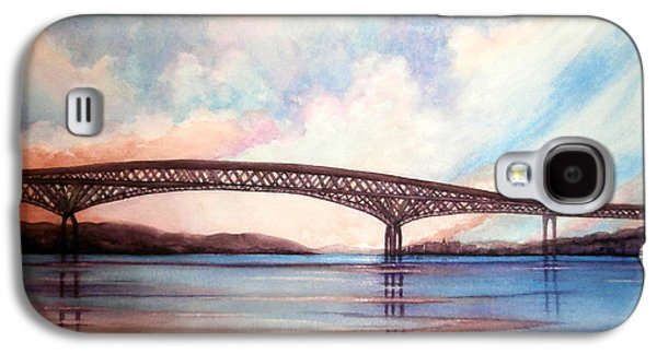 River View Paintings Galaxy S4 Cases - Newburgh Beacon bridge sky  Galaxy S4 Case by Janine Riley