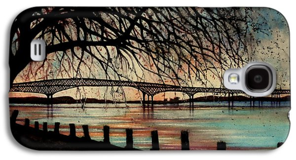 River View Paintings Galaxy S4 Cases - Newburgh Beacon bridge Sunset Galaxy S4 Case by Janine Riley