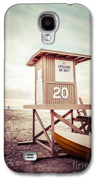 Beach Photography Galaxy S4 Cases - Newport Beach Lifeguard Tower 20 Vintage Picture Galaxy S4 Case by Paul Velgos