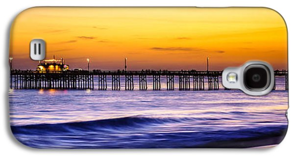 Pacific Ocean Prints Galaxy S4 Cases - Newport Beach Pier Panorama Sunset Photo Galaxy S4 Case by Paul Velgos