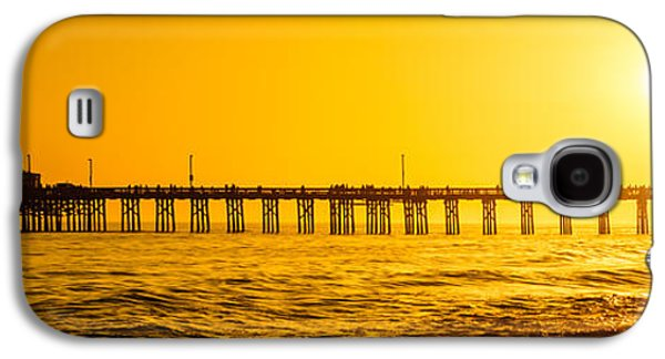 Pacific Ocean Prints Galaxy S4 Cases - Newport Beach Pier Sunset Panoramic Photo Galaxy S4 Case by Paul Velgos