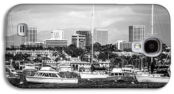 Upscale Galaxy S4 Cases - Newport Beach Skyline Black and White Picture Galaxy S4 Case by Paul Velgos