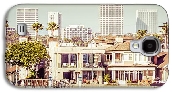 Upscale Galaxy S4 Cases - Newport Beach Skyline Vintage Panorama Galaxy S4 Case by Paul Velgos
