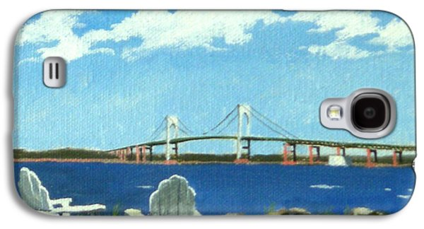 Sand Castles Paintings Galaxy S4 Cases - Newport Bridge Newport Rhode Island Galaxy S4 Case by Christine Hopkins