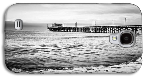 California Beach Art Galaxy S4 Cases - Newport Pier Panoramic Photo in Black and White Galaxy S4 Case by Paul Velgos
