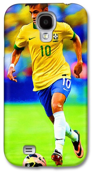 Nike Digital Galaxy S4 Cases - Neymar Soccer Football Art Portrait Painting Galaxy S4 Case by Andres Ramos