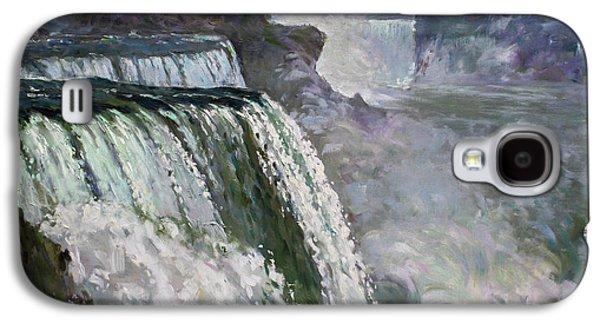 Waterfalls Paintings Galaxy S4 Cases - Niagara American Falls 2 Galaxy S4 Case by Ylli Haruni