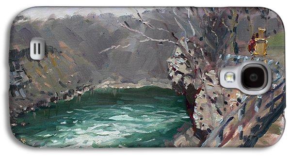 Fence Paintings Galaxy S4 Cases - Niagara Falls Gorge Galaxy S4 Case by Ylli Haruni