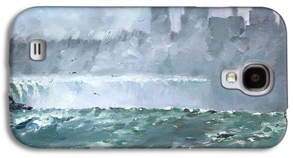 Waterfalls Paintings Galaxy S4 Cases - Niagara  Falls Mist  Galaxy S4 Case by Ylli Haruni
