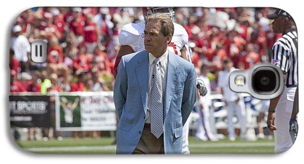 Tuscaloosa Galaxy S4 Cases - Nick Saban Head Football Coach of Alabama Galaxy S4 Case by Mountain Dreams
