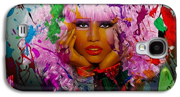 Young Galaxy S4 Cases - Nicki Minaj Painting Galaxy S4 Case by Marvin Blaine