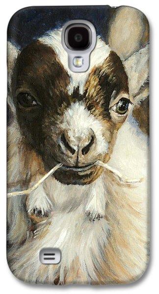Nigerian Dwarf Goat With Straw Galaxy S4 Case by Dottie Dracos