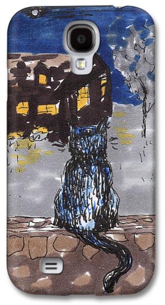 Contemplative Drawings Galaxy S4 Cases - Night Cat Galaxy S4 Case by Regina Valluzzi